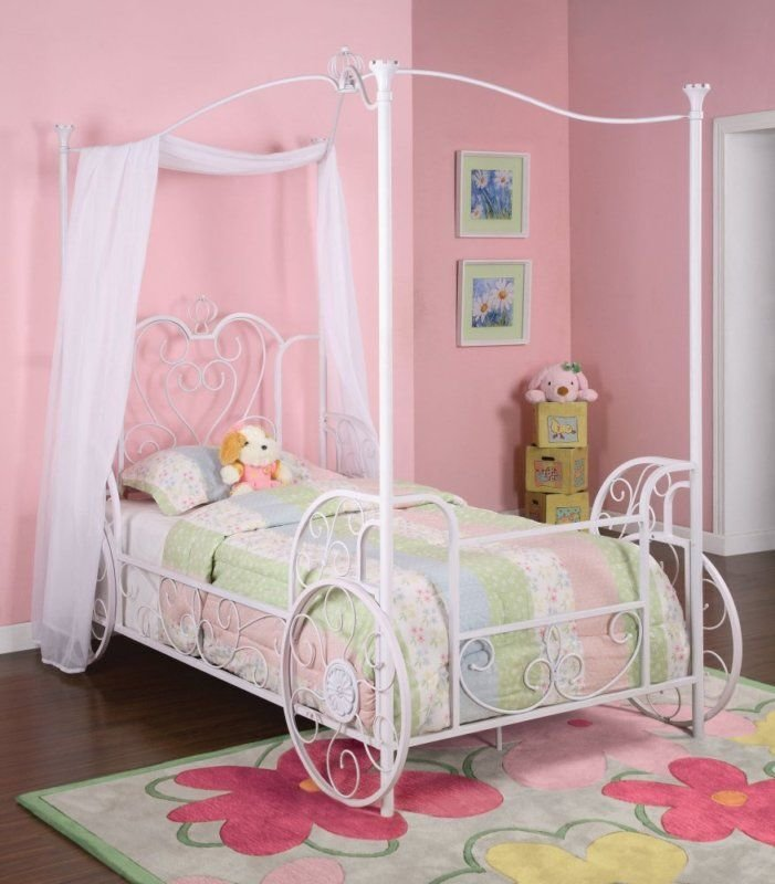 Best Powell Princess Emily Carriage Canopy White Twin Size Bed With Pictures