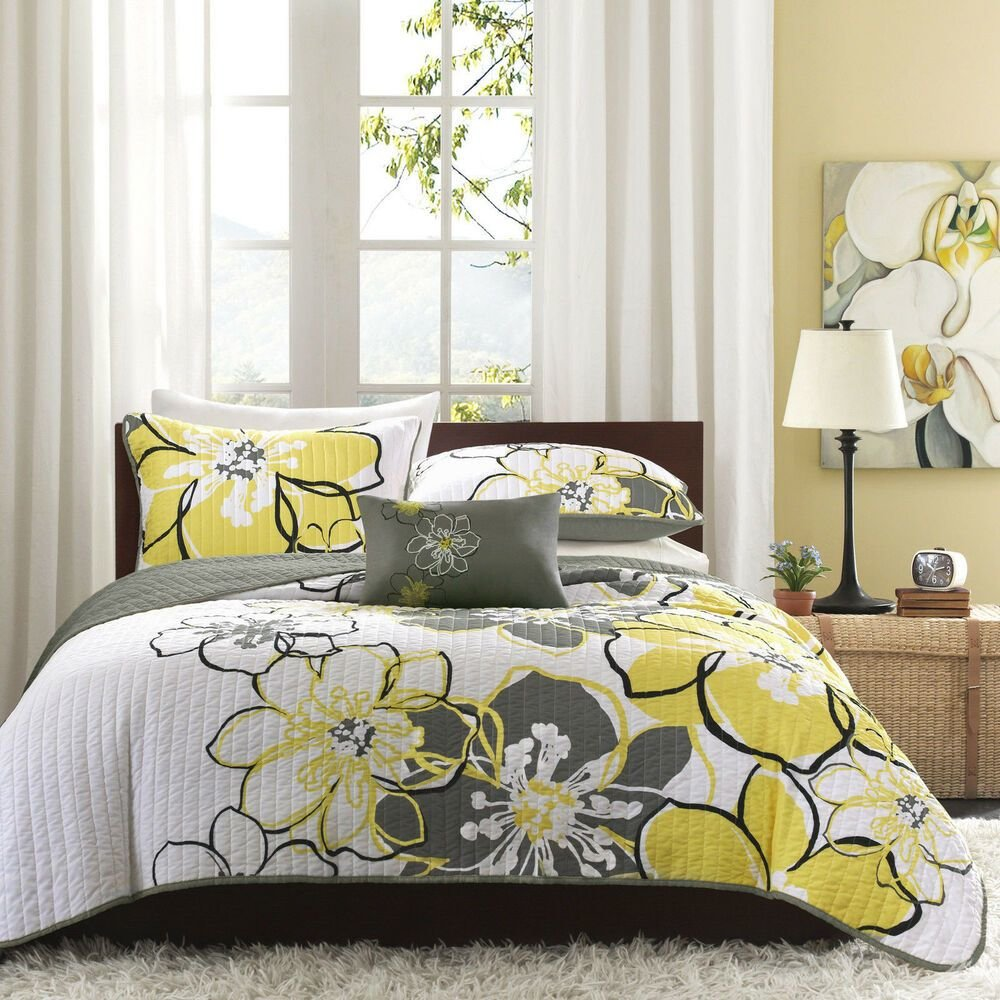 Best Beautiful Modern Chic Grey Yellow White Floral Flower Texture Soft Quilt Set Ebay With Pictures