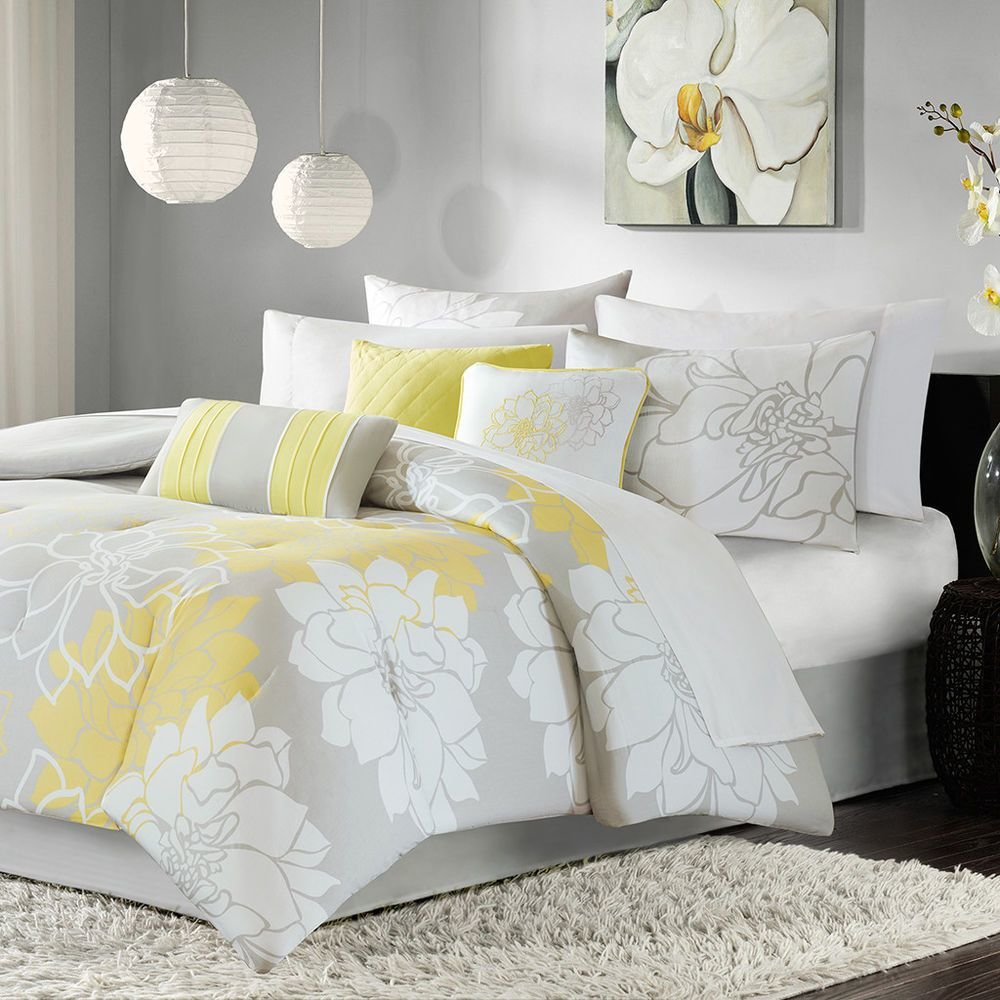 Best Retro Modern Soft Cotton Chic Yellow White Grey Comforter With Pictures