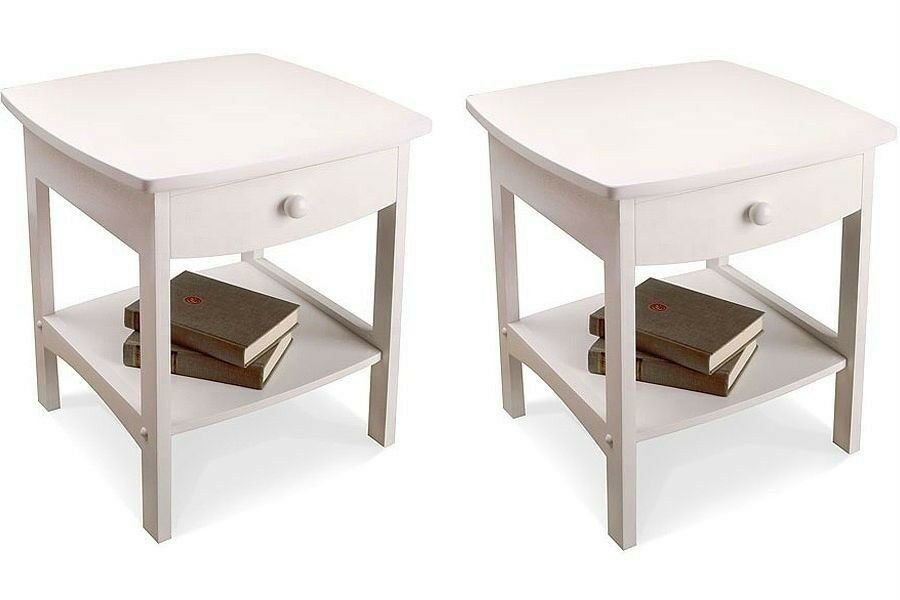 Best Nightstand Set Wooden End Table Pair Shelf Bedroom Bedside With Pictures