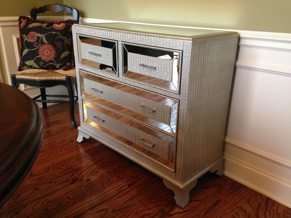 Best Hollywood Regency Mirrored Console Cabinet Chest Silver With Pictures