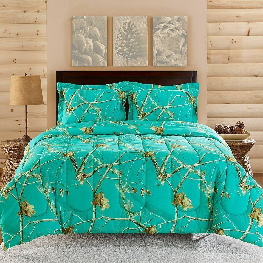 Best Realtree Camo Comforter Sham Set Teal Blue King Queen With Pictures