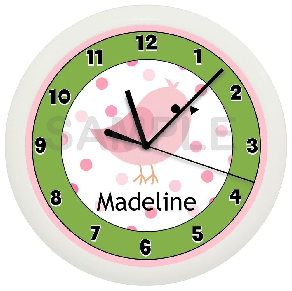Best Pink Song Bird Nursery Wall Clock Personalized Customized With Pictures