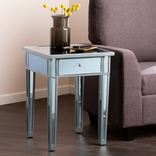 Best Mirrored Side Table End Accent Decor Nightstand Mirror With Pictures