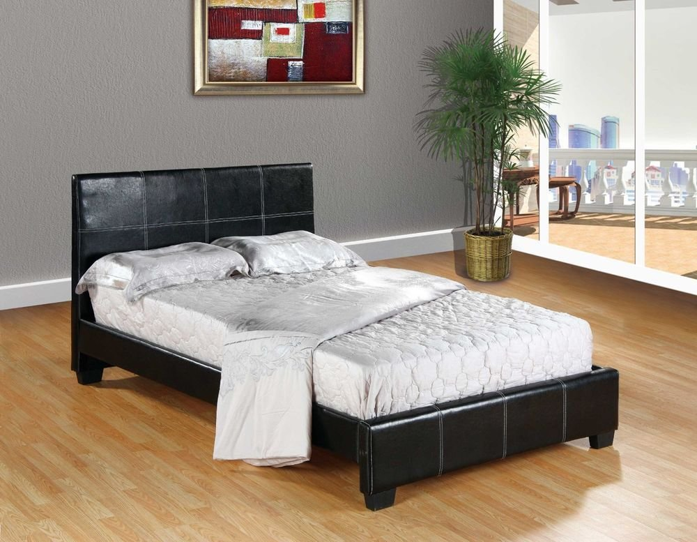Best Black Faux Leather Full Size Platform Bed Frame Slats With Pictures