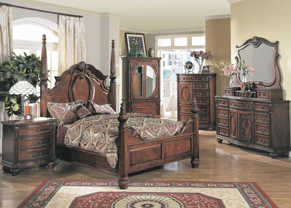 Best Traditional Antique Poster King Size Bed Dresser Mirror With Pictures