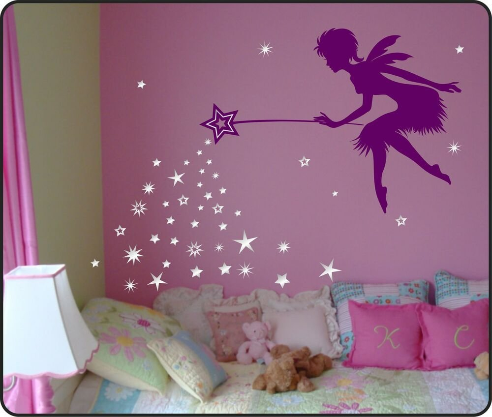 Best Fairy Wall Decal Sticker With Blowing Stars Wand Nursery With Pictures