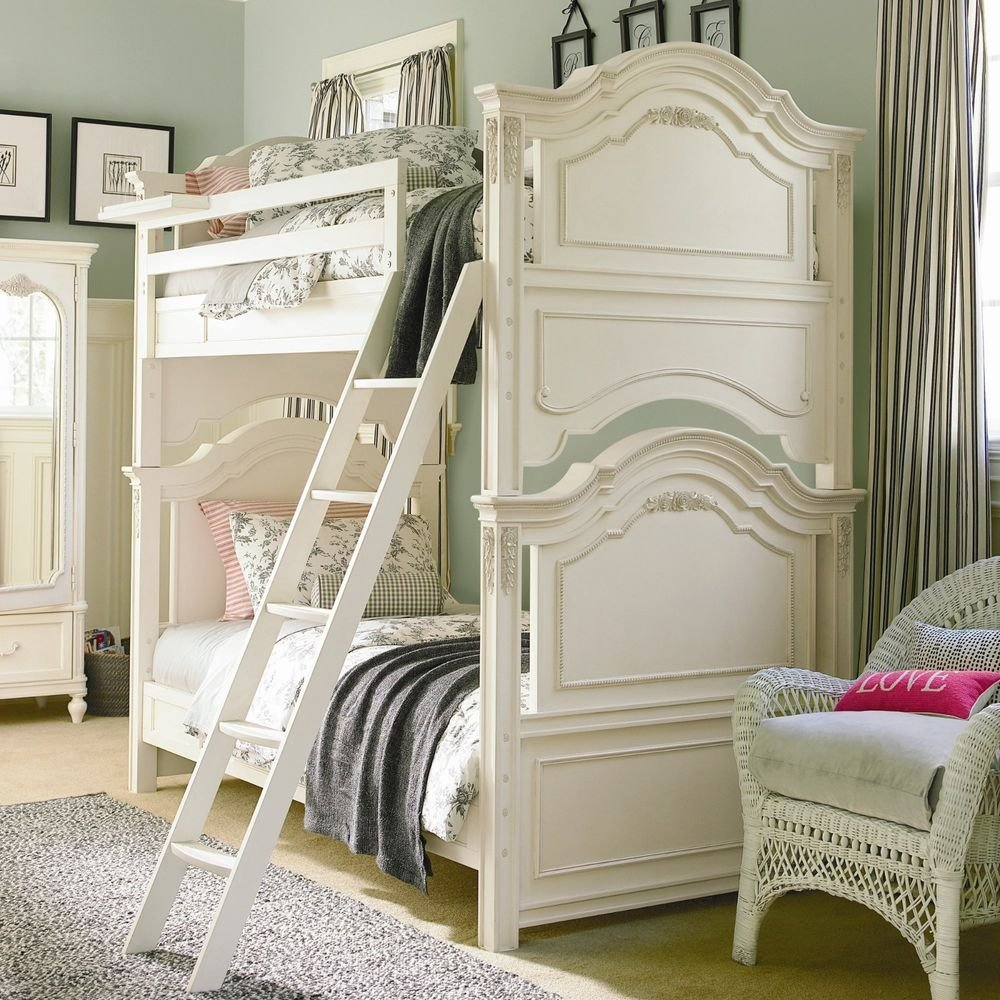 Best Girls Bunk Bed Set Victorian Rose Antique White Twin With Pictures