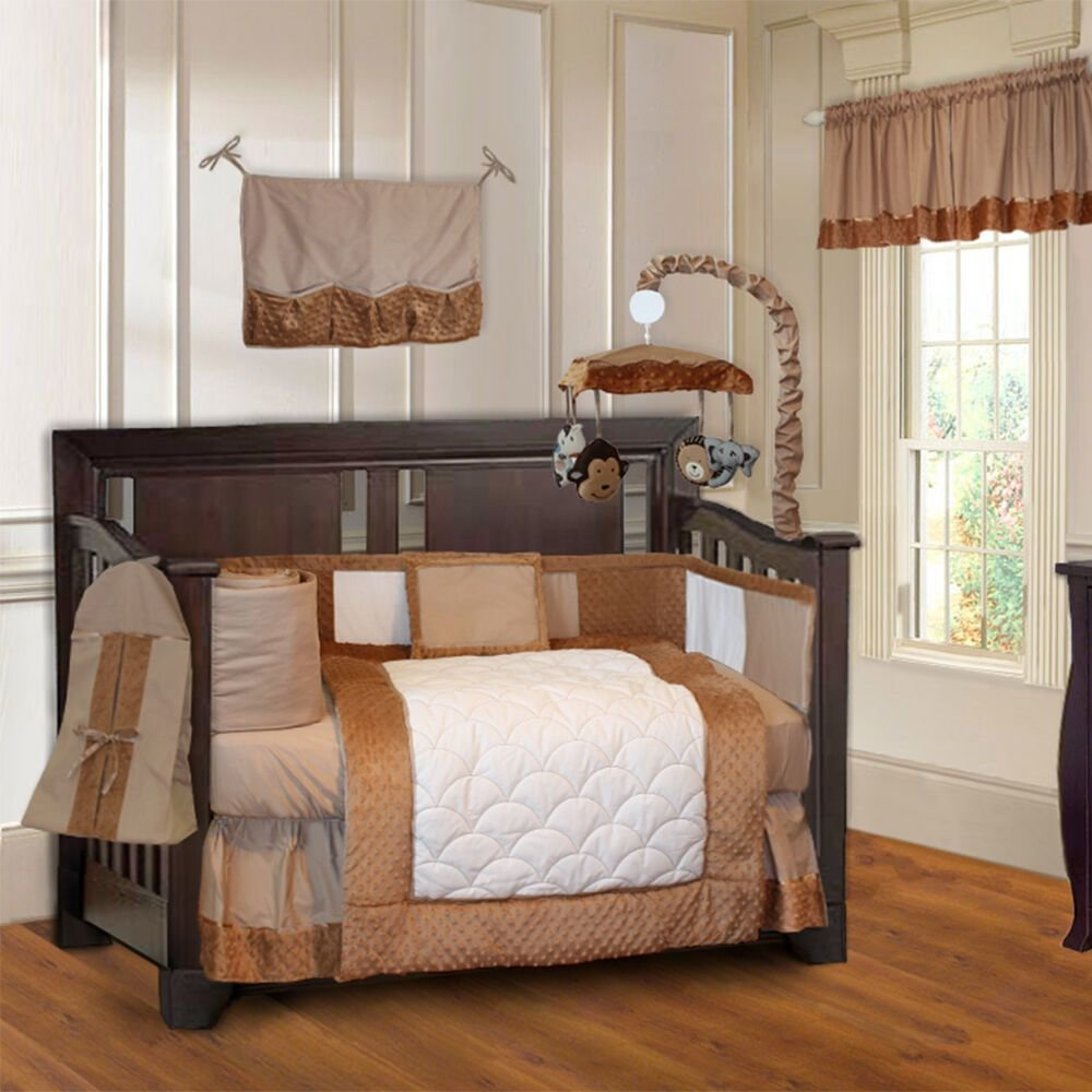 Best Babyfad Minky Brown 10 Piece Boys Baby Crib Bedding Set With Pictures