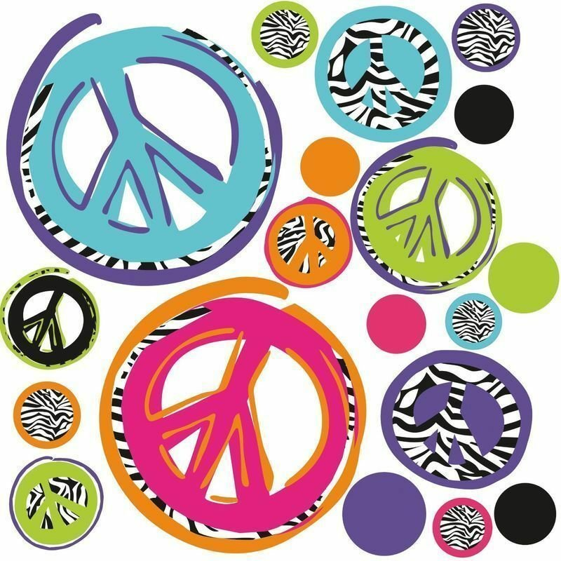 Best Zebra Print Peace Signs Wall Stickers 26 Funky Mod Decals With Pictures
