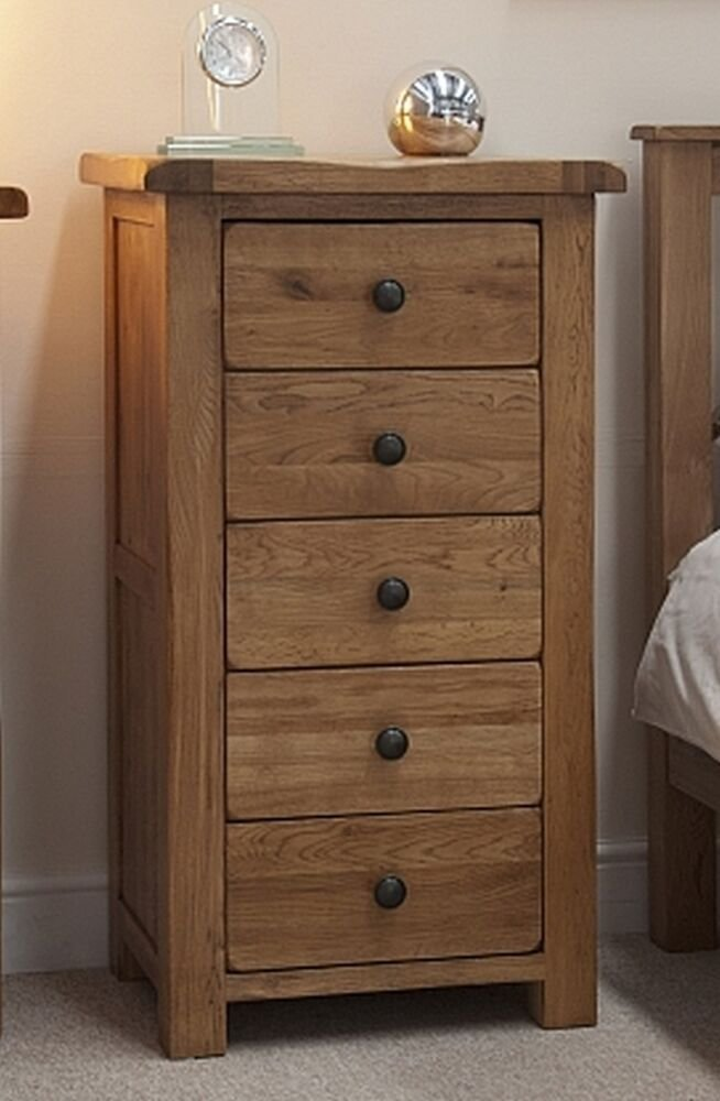 Best Brooklyn Solid Oak Bedroom Furniture Narrow Wellington Chest Of Drawers Ebay With Pictures