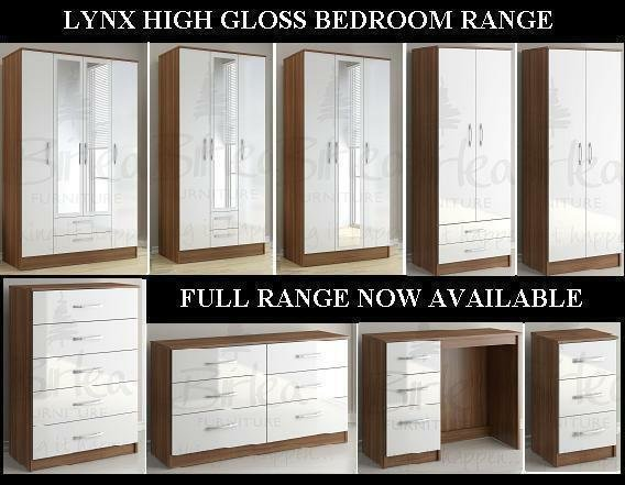 Best Birlea Lynx Walnut And White High Gloss Bedroom Furniture With Pictures