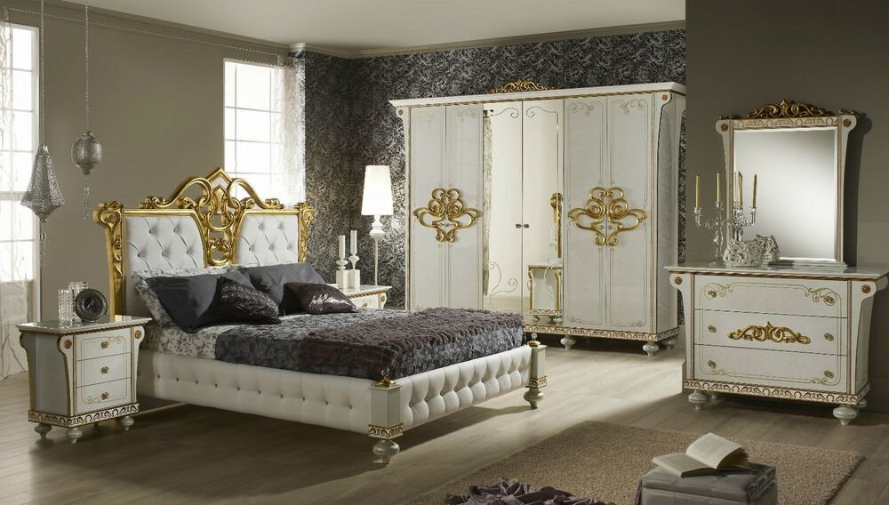 Best Italian Bedroom Suite Desire High Gloss Cream And Gold Bedroom Set Ebay With Pictures