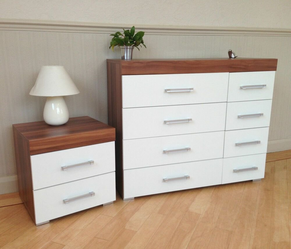 Best White Walnut 4 4 Drawer Chest 2 Drawer Bedside Cabinet With Pictures