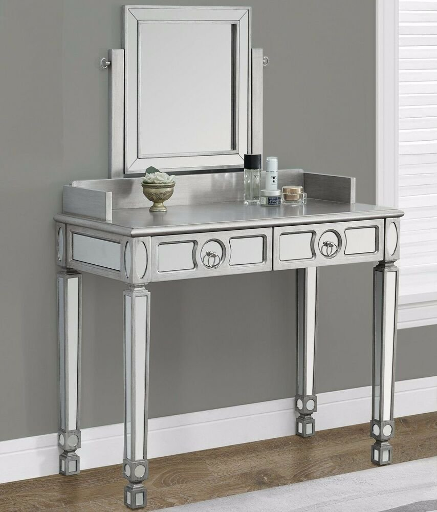 Best Modern Brushed Silver Bedroom Mirror Vanity Set Makeup With Pictures