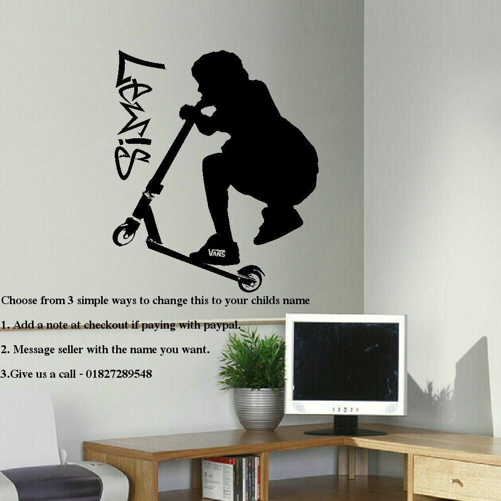 Best Large Personalised Stunt Scooter Teenage Bedroom Wall Art With Pictures