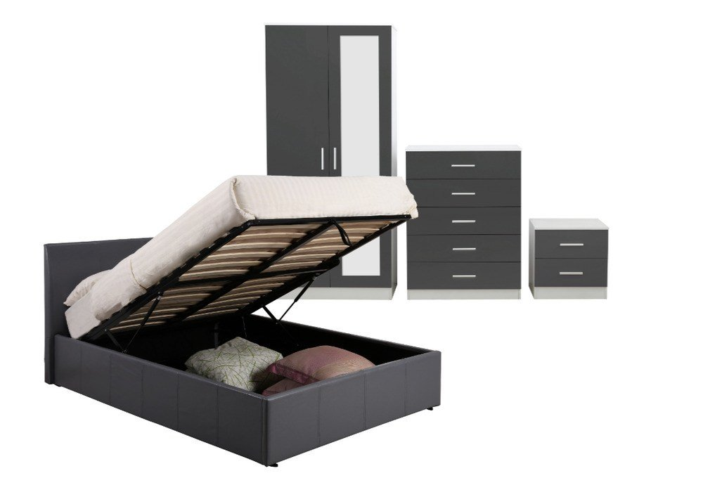 Best 3 Piece High Gloss Bedroom Furniture Set 4Ft6 Ottoman With Pictures