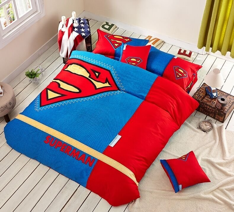 Best New 2015 Superman Movie Bedding Set 4Pc Queen King Cotton Gift Rare Ebay With Pictures