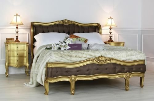 Best French Gold Leaf Upholstered 4Ft 6In Double Bed Bedroom With Pictures
