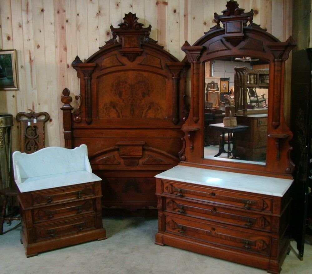 Best Great 3 Piece 1870 S Victorian Walnut Marble Top Bedroom Set Ebay With Pictures