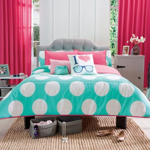 Best New Girls Aqua White Polka Dots Peach Comforter Bedding Set Ebay With Pictures