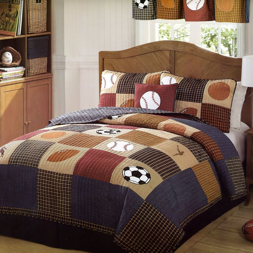 Best Classic Sports Full Queen Quilt Set Boys State Football With Pictures