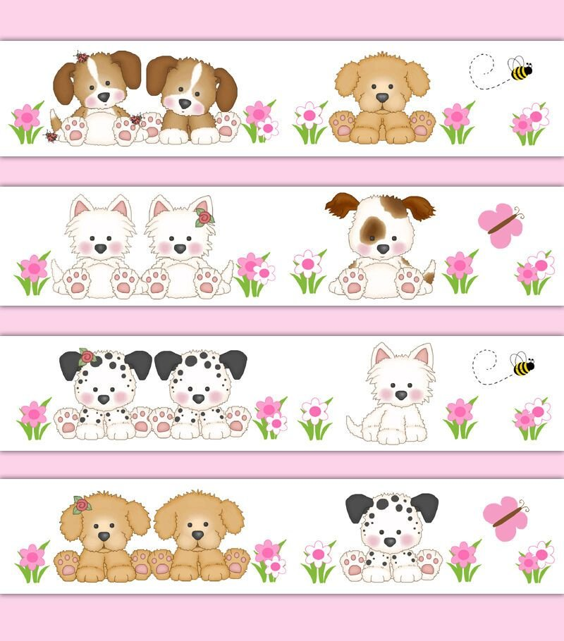 Best Puppy Wallpaper Border Wall Art Decal Sticker Baby Girl With Pictures