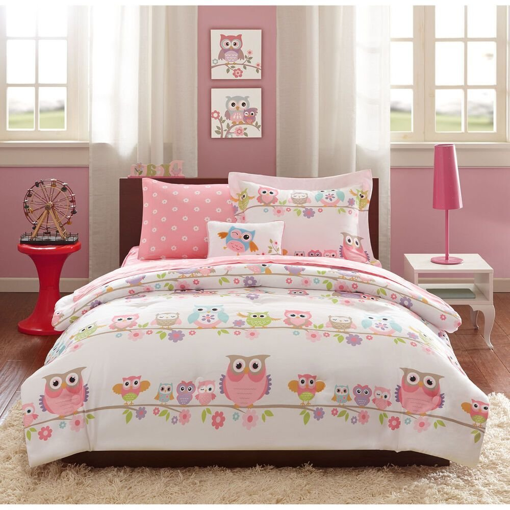 Best Full 8 Pc Girls Owl Bedding Set Bag Pink Purple Flowers With Pictures