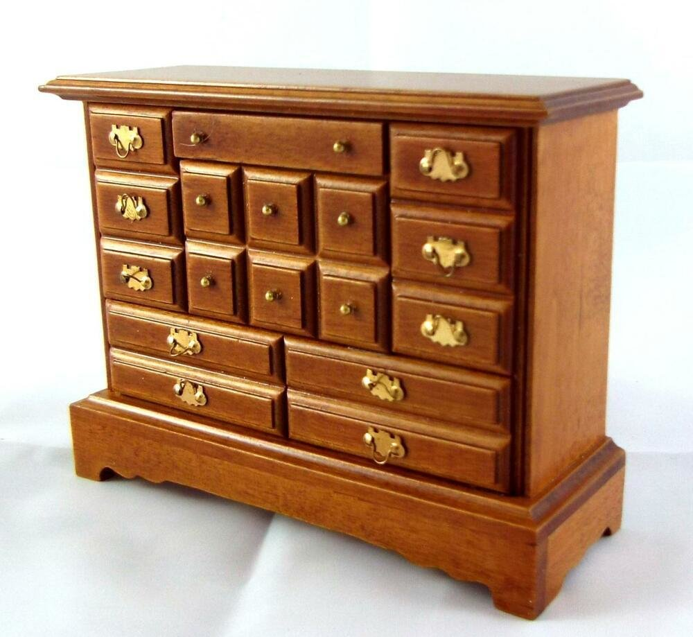 Best Dolls House Miniature Bedroom Furniture Walnut Wood With Pictures