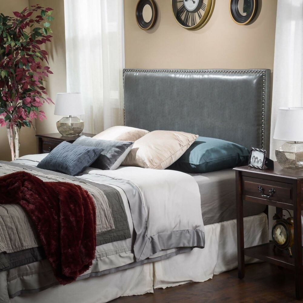 Best Bedroom Furniture Grey Leather Full To Queen Adjustable Headboard Ebay With Pictures
