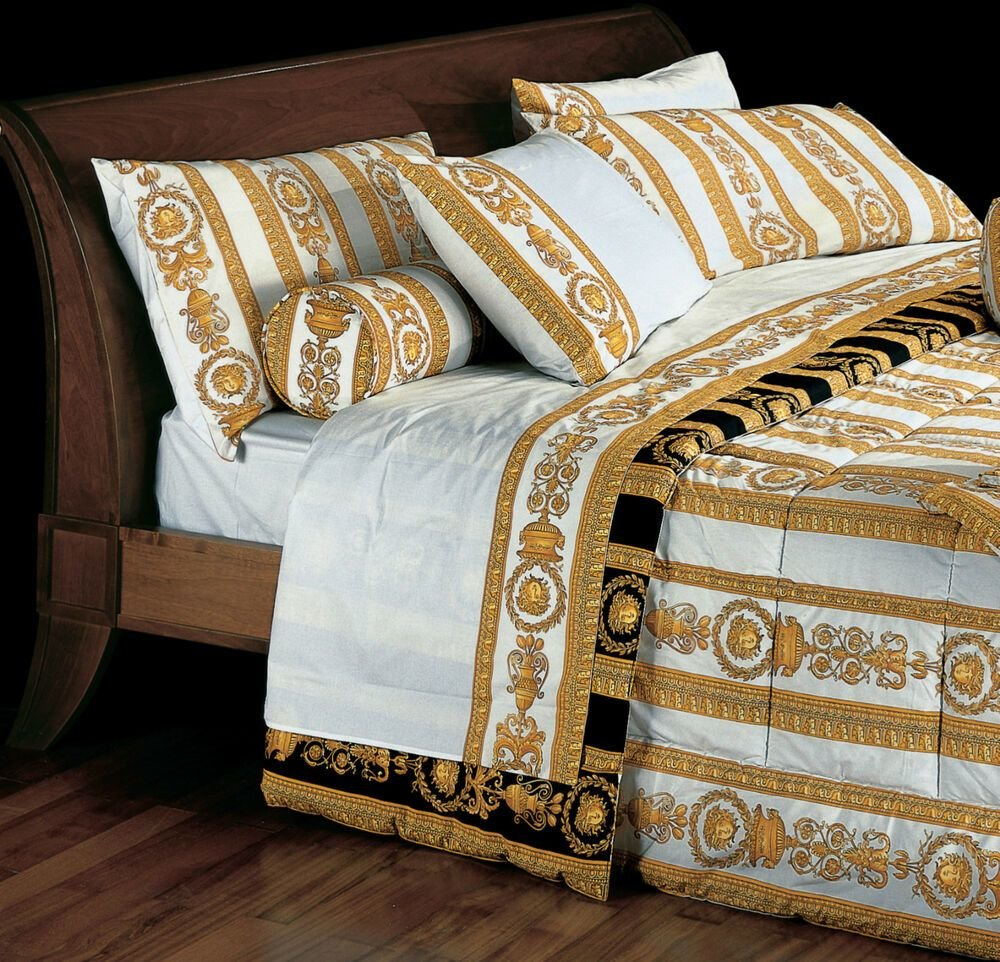 Best Versace Medusa Queen Size White Bed Duvet Cover Sheet With Pictures