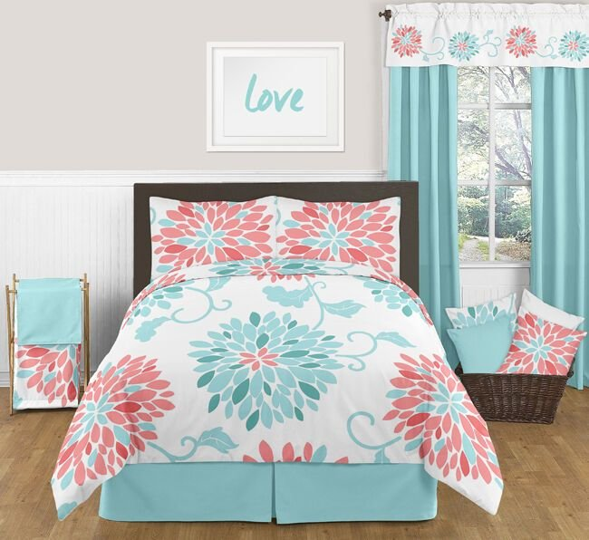 Best Sweet Jojo Queen Sized Turquoise Coral Floral Bed In A Bag With Pictures