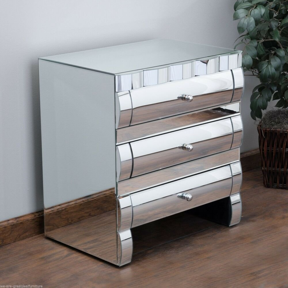 Best Bedroom Furniture Modern Design 3 Drawer Mirror Nightstand With Pictures