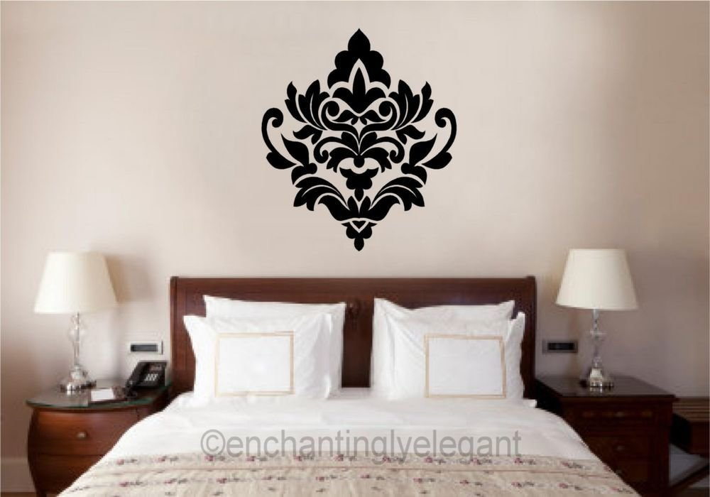 Best Damask Embellishment Vinyl Decal Wall Sticker Master Bedroom Living Room Decor Ebay With Pictures