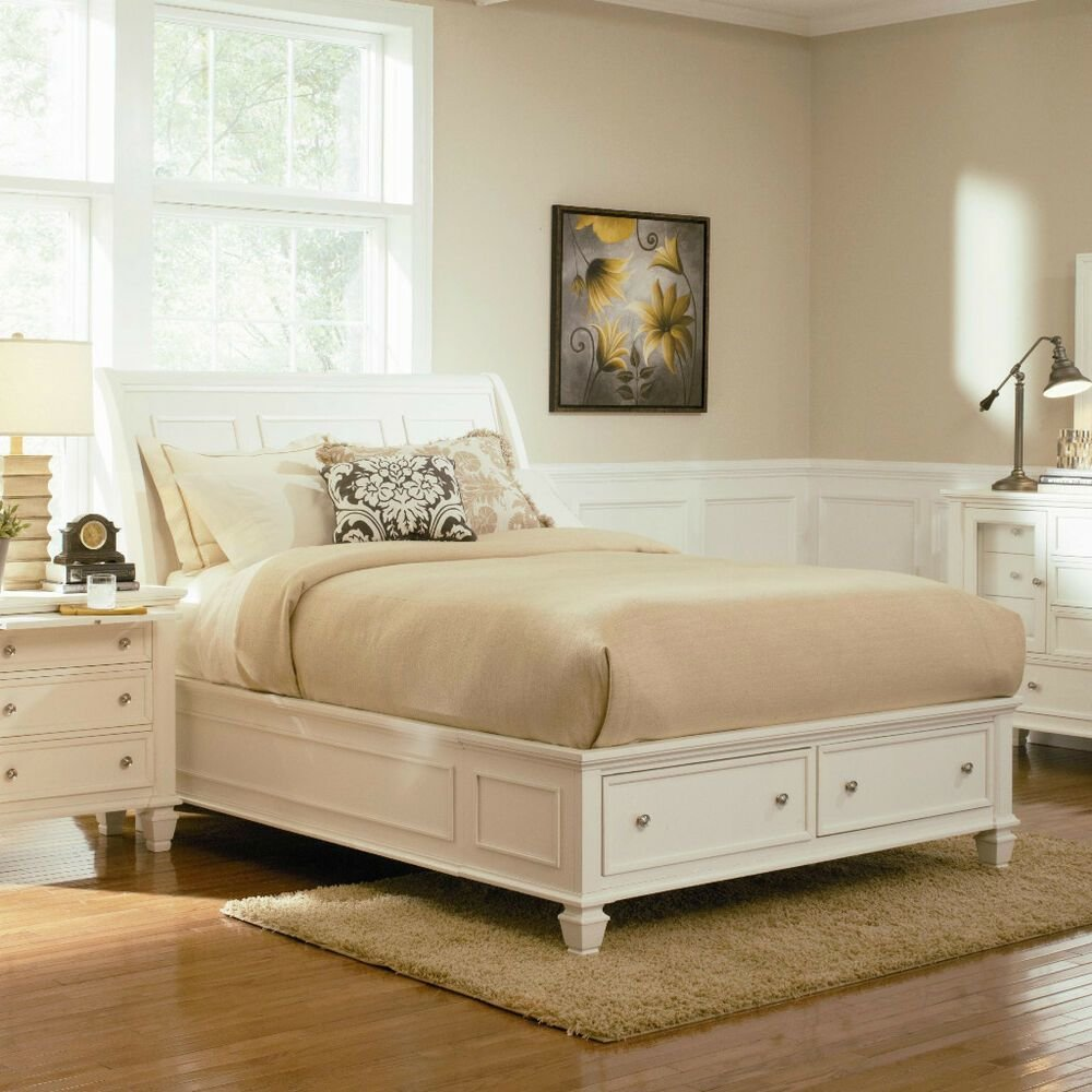 Best Stylish Soft White King Storage Sleigh Bed Bedroom With Pictures