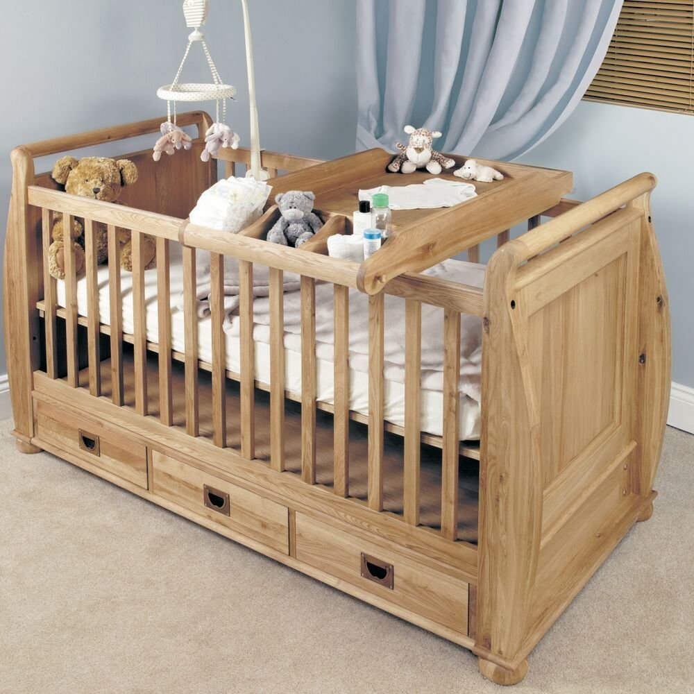 Best Felix Childrens Bedroom Furniture Oak Baby Cot Bed And With Pictures