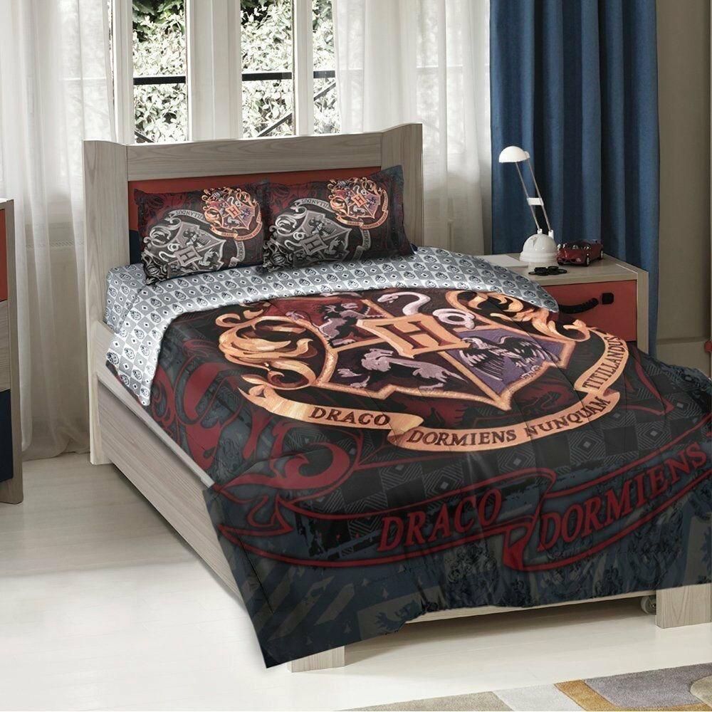 Best Harry Potter Hogwarts School Motto Twin Full Comforter Pillow Sham Set Ebay With Pictures
