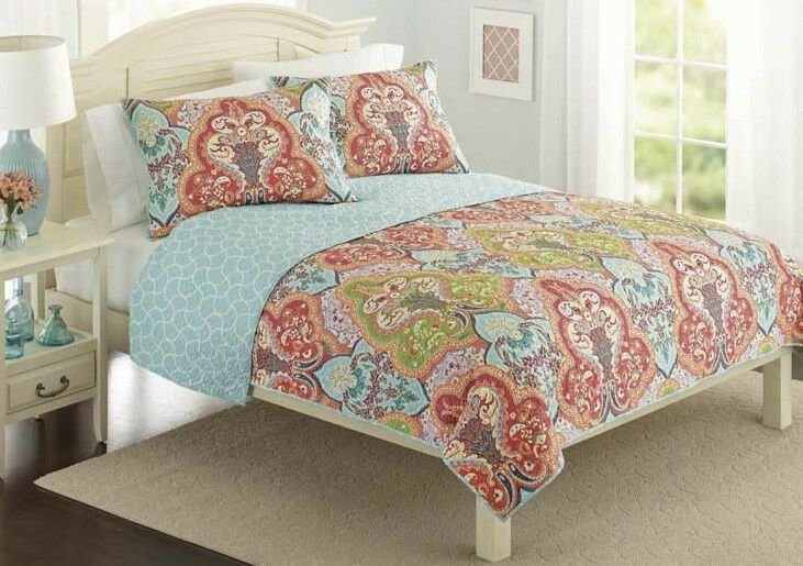 Best Turquoise Coral Tropical Beach Damask Full Queen Quilt With Pictures
