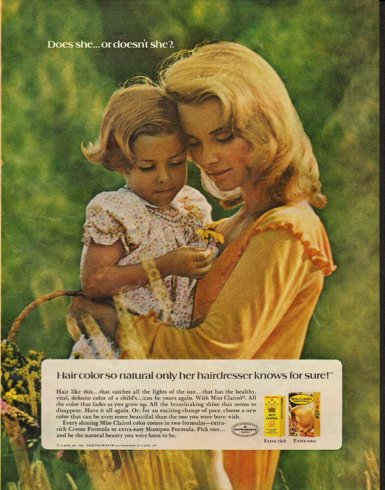 Free 1969 Vintage Magazine Ad For Miss Clairol Hair Color Bath Wallpaper