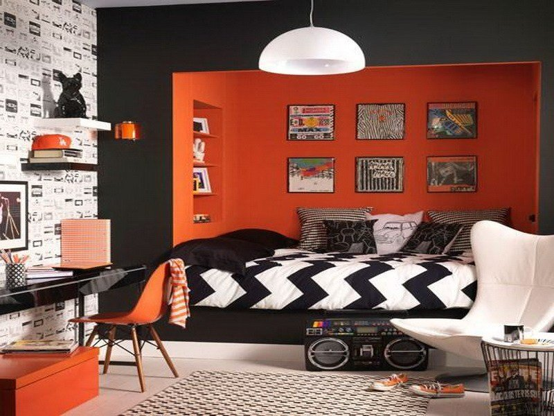 Best Bloombety Orange Rock N Roll Bedroom Decor Rock N Roll With Pictures