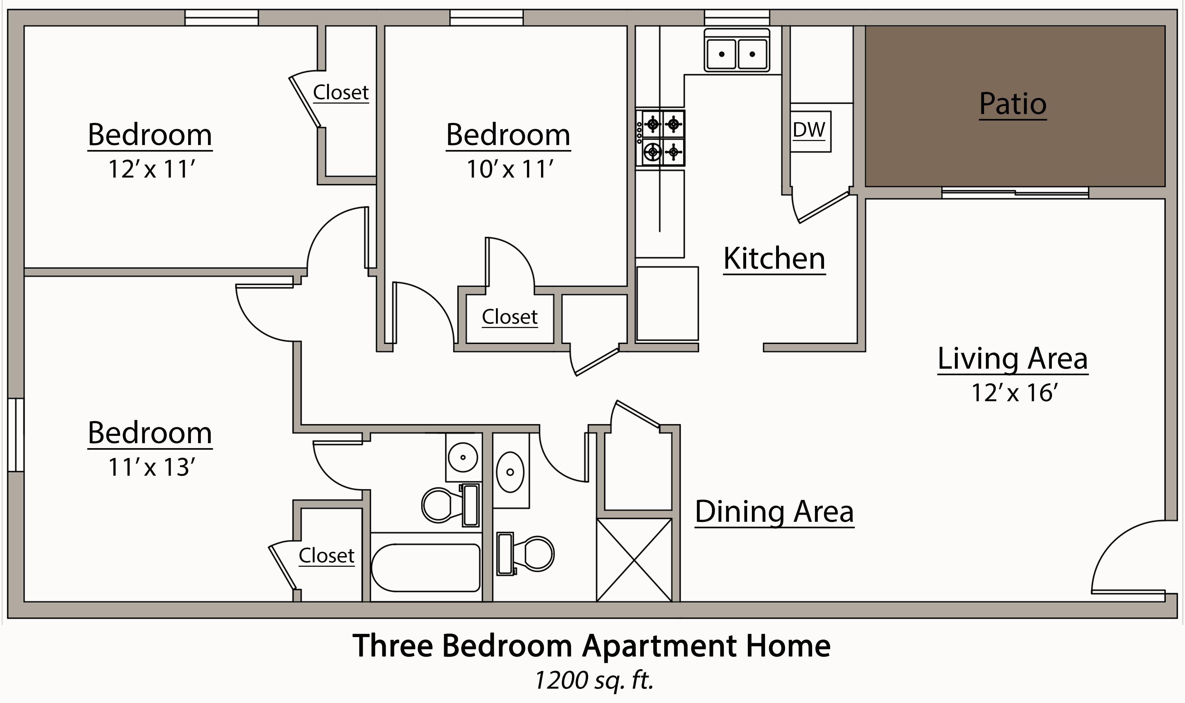 Best 26 Decorative 3 Bedroom Apartment Plan House Plans 87223 With Pictures