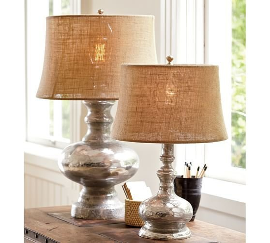 Best Antique Mercury Glass Table Bedside Lamps Pottery Barn With Pictures