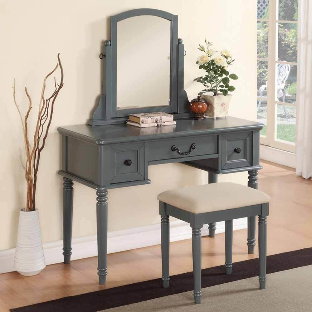 Best Modern Vanity Makeup Make Up Table Dresser W 3 Drawers Stool Set Wood Blue Grey Ebay With Pictures