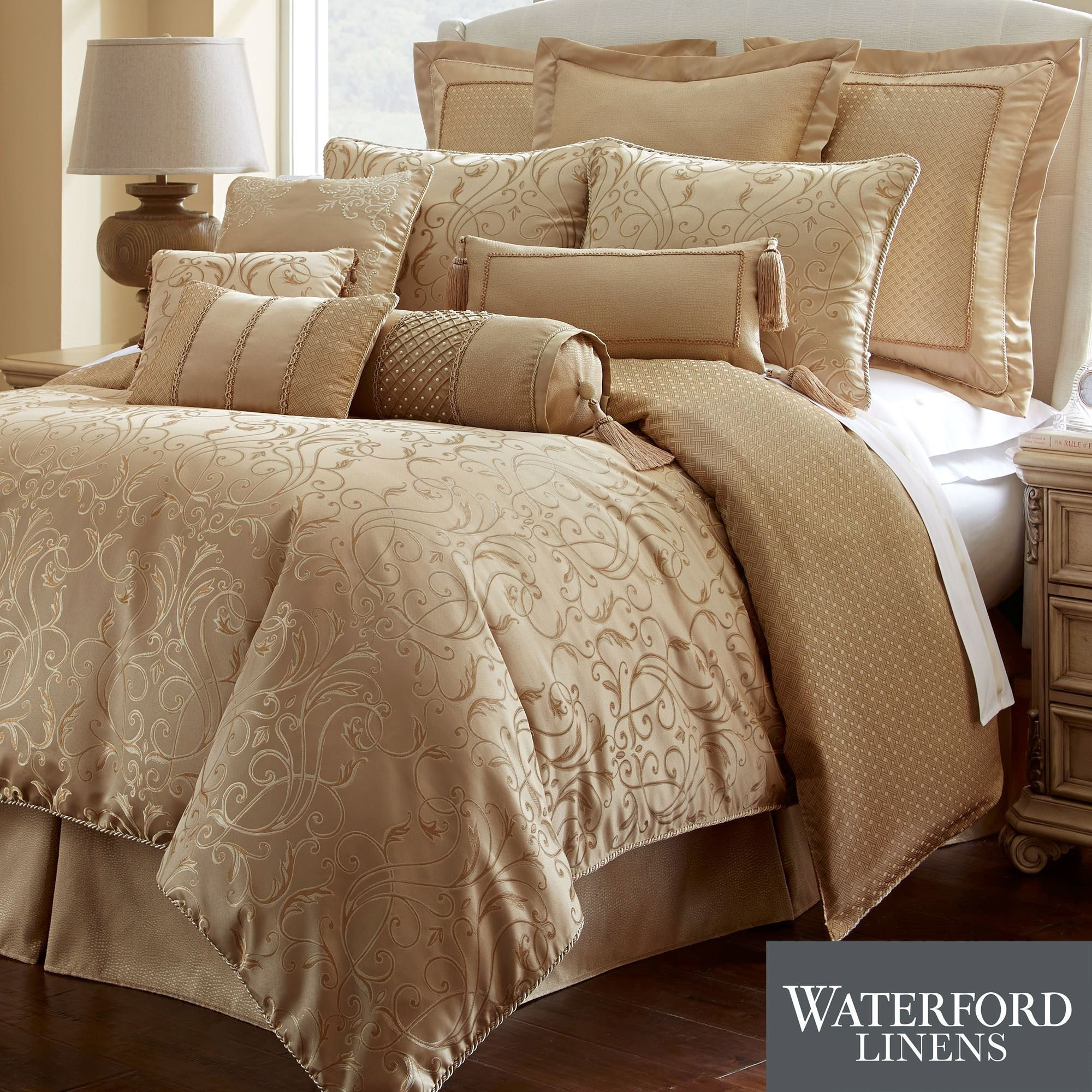 Best Lynath Gold Comforter Bedding By Waterford Linens With Pictures
