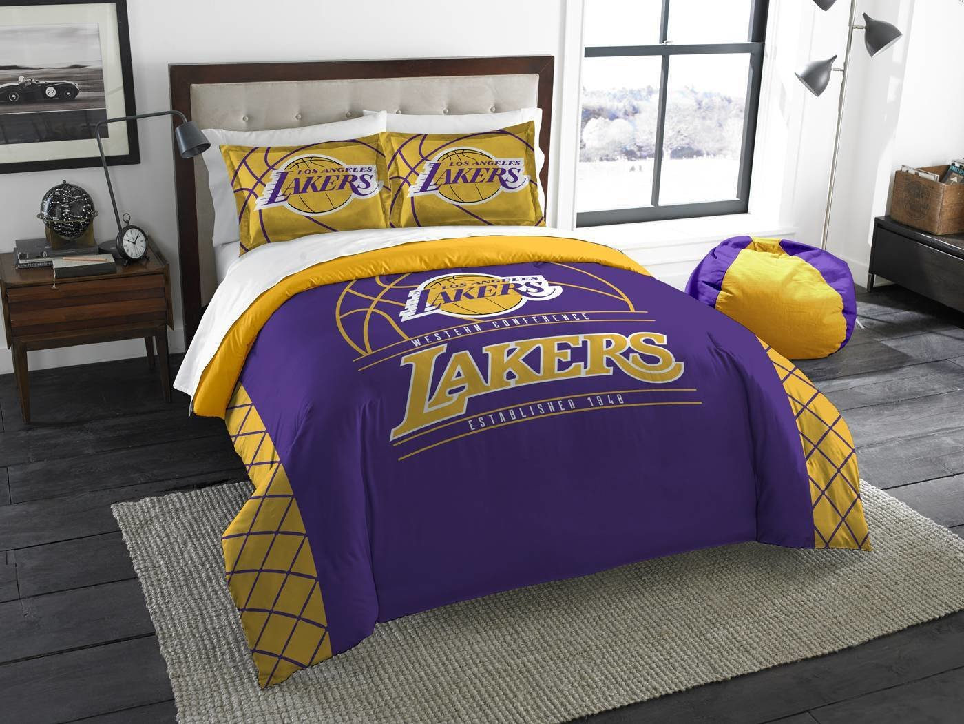 Best Los Angeles Lakers Reverse Slam Full Queen Comforter Set With Pictures