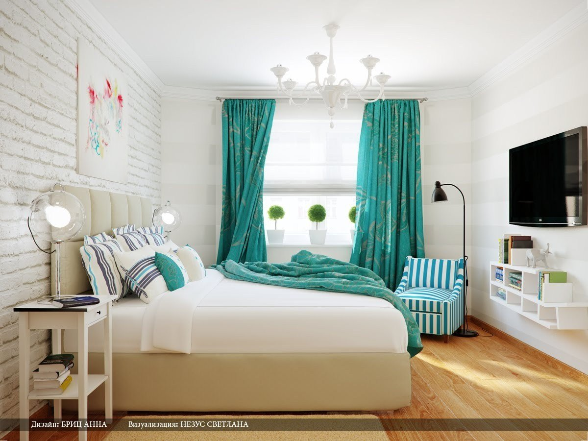Best Turquoise White Stripe Bedroom Interior Design Ideas With Pictures