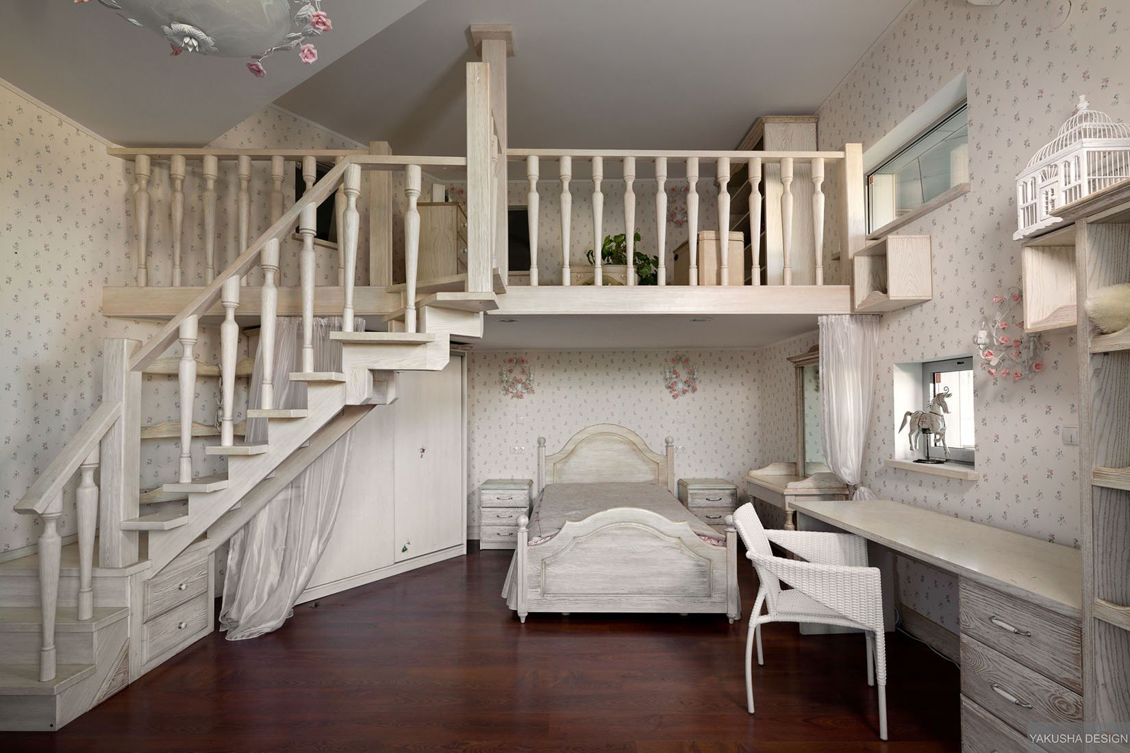 Best Dreamy Floral And White Bedroom With Mezzanine And With Pictures