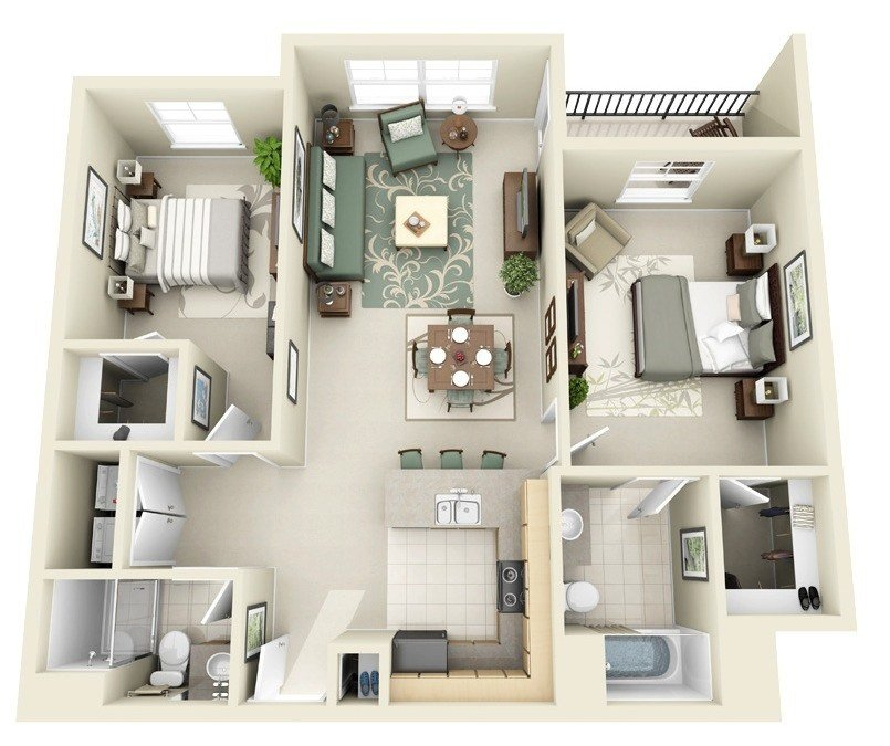 Best Large Two Bedroom House Plan Interior Design Ideas With Pictures