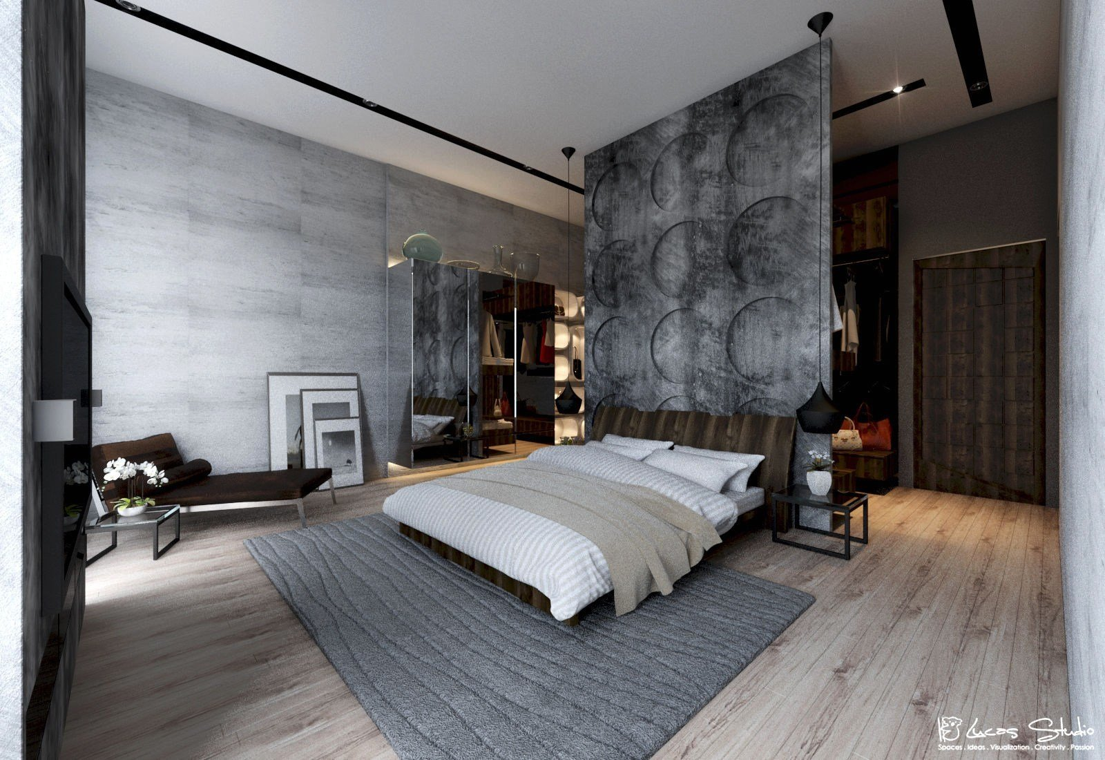 Best Exposed Concrete Wall Bedroom Interior Design Ideas With Pictures
