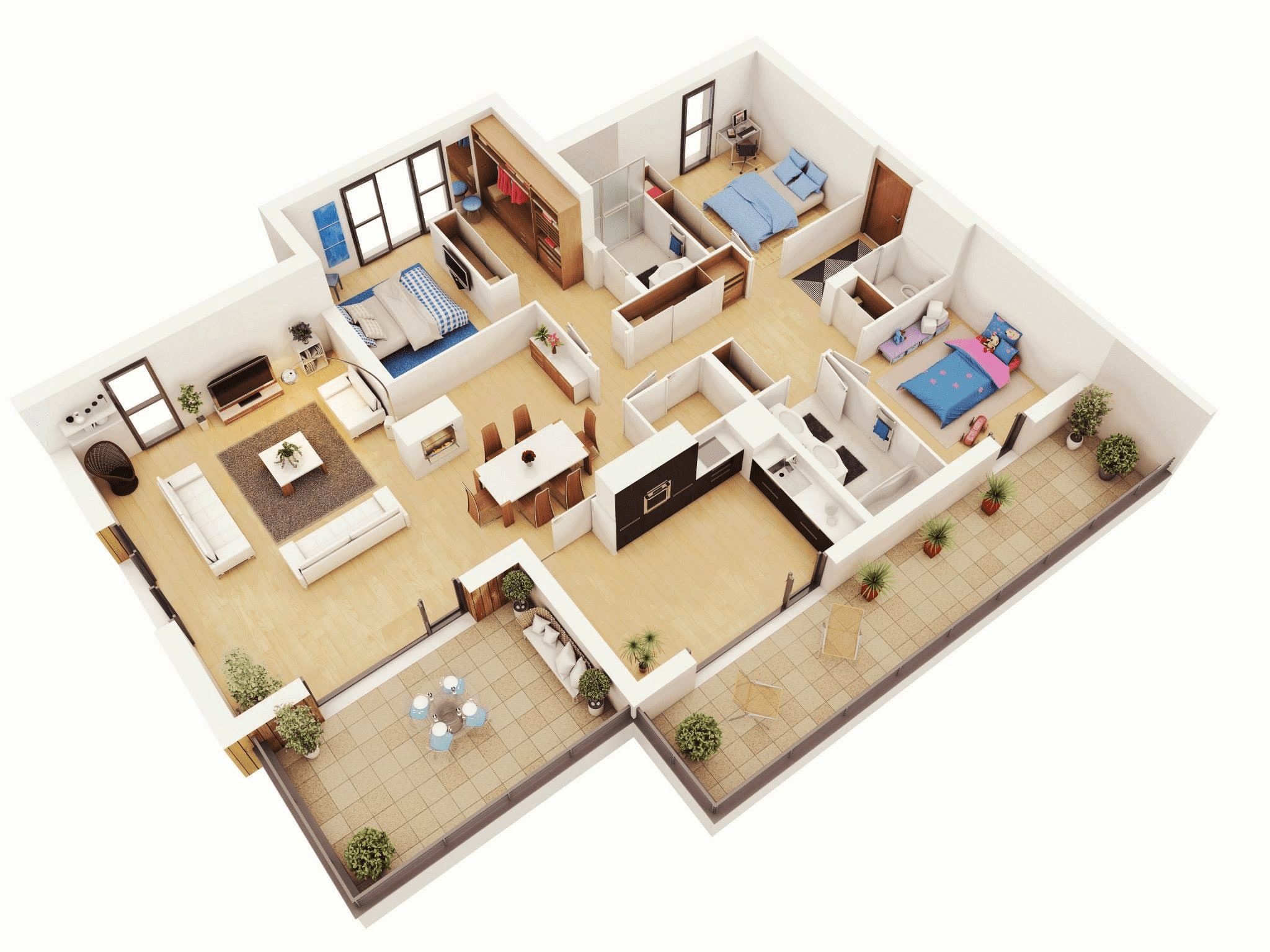 Best 25 More 3 Bedroom 3D Floor Plans With Pictures